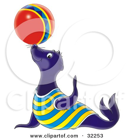 Clipart Illustration of a Talented Blue Sea Lion Balancing A Colorful Ball On His Nose by Alex Bannykh