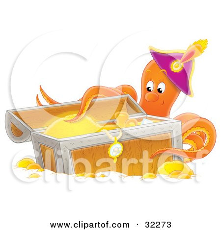 Clipart Illustration of a Happy Octopus Wearing A Hat, Touching Gold And Jewelry In A Sunken Treasure Chest by Alex Bannykh