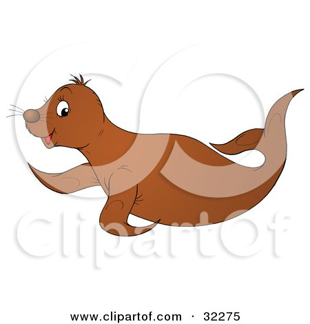 Cute Brown Seal Hopping Past Posters, Art Prints