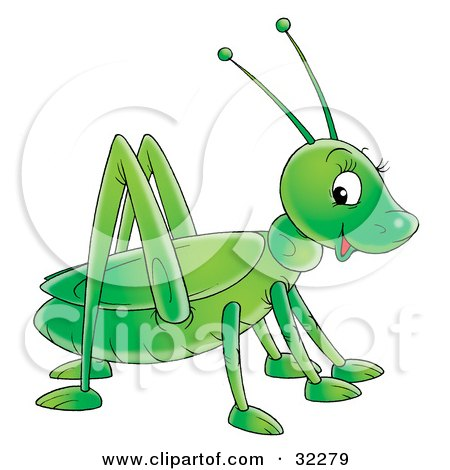 Clipart Illustration of a Cute And Friendly Green Grasshopper Glancing At The Viewer by Alex Bannykh