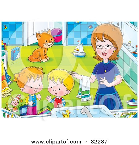 Clipart Illustration of a Mom Helping Her Children Get Cleaned Up In A Bathroom, A Cat Watching In The Background by Alex Bannykh