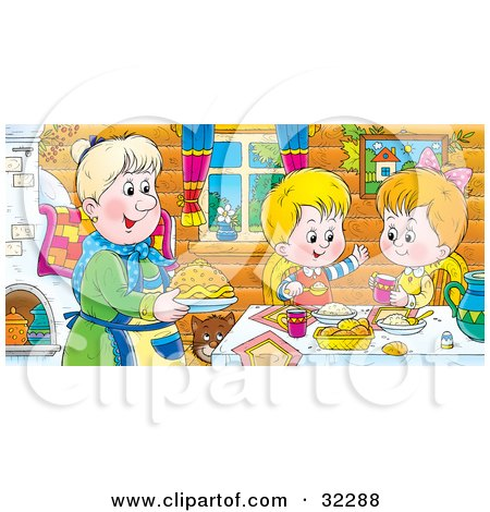 Clipart Illustration of a Happy Boy And Girl At A Table, Eating Fresh Food Made By Grandma by Alex Bannykh