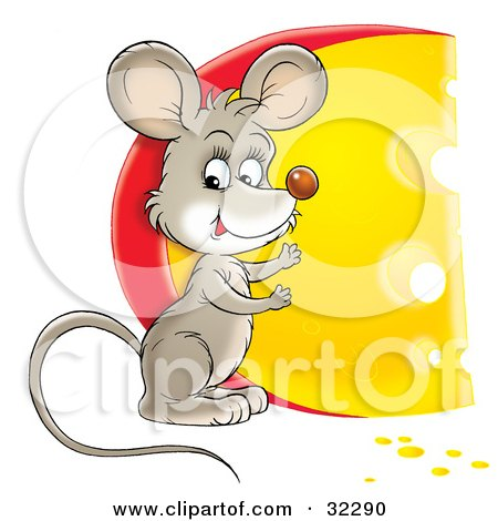 Cute Mouse Standing By A Big Circular Wedge Of Cheese Posters, Art Prints