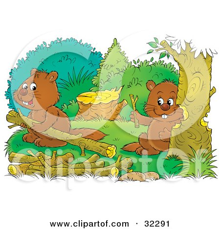 Clipart Illustration of Two Beavers Building A Dam, One Chewing Down A Tree, One Carrying Logs by Alex Bannykh