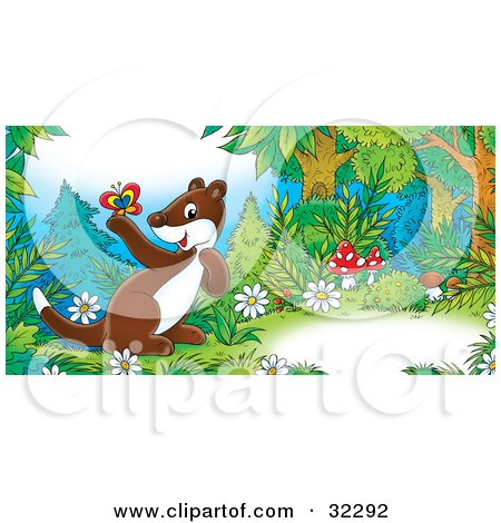 Clipart Illustration of a Cute Brown Weasel With A White Belly, Exploring In Mushrooms And Flowers In A Forest, Holding A Butterfly by Alex Bannykh