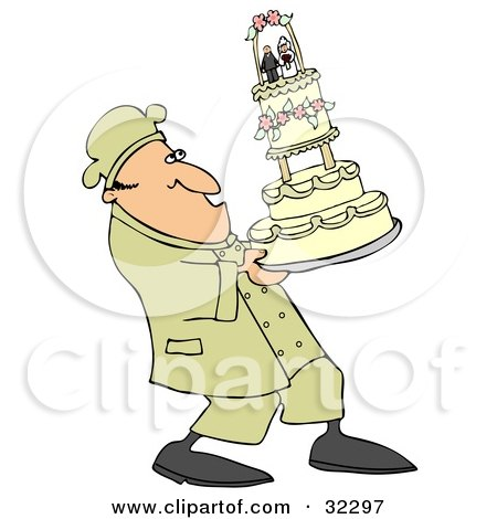 Clipart Illustration of a Nervous Chef Leaning Back And Carrying A Tall Wedding Cake by djart
