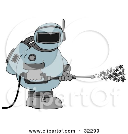 Clipart Illustration of an Astronaut In A Space Suit, Operating A Power Washer And Spraying Out Stars by djart