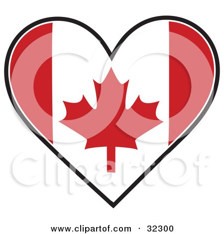 Clipart Illustration of a Red And White Maple Leaf Canadian Flag In The Shape Of A Heart by Maria Bell