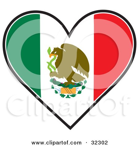 Clipart Illustration of an Eagle On A Cactus With A Serpent On A Green, White, And Red Mexican Flag In The Shape Of A Heart by Maria Bell