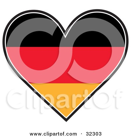 Clipart Illustration of a Black, Red, And Orange German Flag In The Shape Of A Heart by Maria Bell