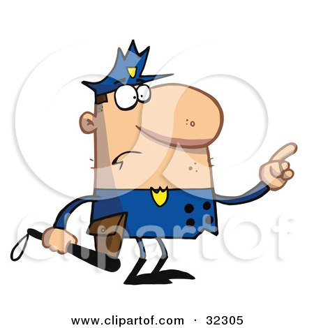 Clipart Illustration Of A Caucasian Police Officer Man In A Blue Uniform Pointing And Holding A Nightstick