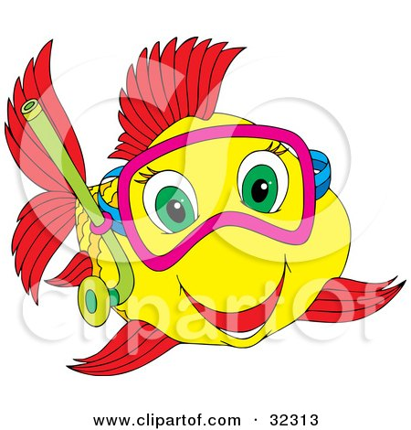 Clipart Illustration of a Happy Green Eyed Yellow And Red Fish Snorkeling by Alex Bannykh