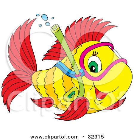 Clipart Illustration of a Friendly Green Eyed Yellow And Red Fish Snorkeling by Alex Bannykh