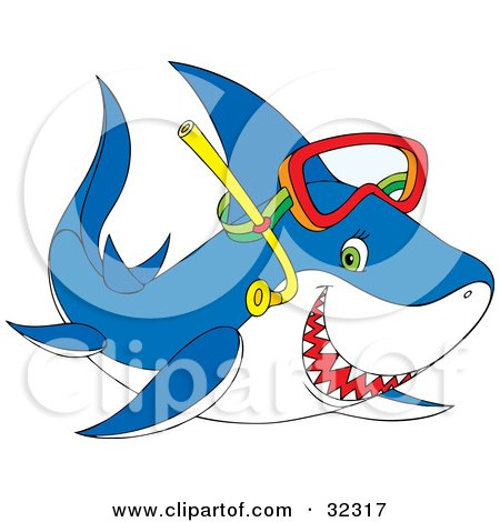 Clipart Illustration of a Green Eyed Blue Shark Grinning With Sharp Teeth And Wearing Snorkel Gear by Alex Bannykh