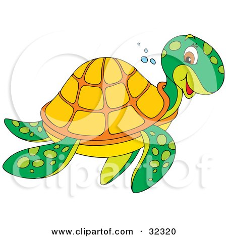 Clipart Illustration of a Friendly Green Sea Turtle With An Orange Shell, Smiling While Swimming To The Right by Alex Bannykh