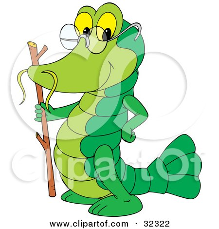Clipart Illustration of an Old Green Crayfish With A Stick And Glasses by Alex Bannykh