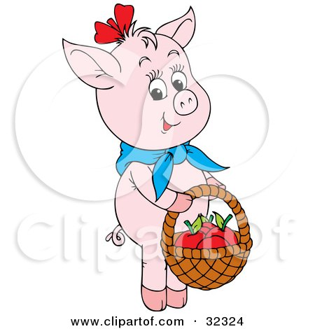 Clipart Illustration Of A Cute Pink Pig Wearing Blue Scarf Carrying Apples In Basket By Alex Bannykh