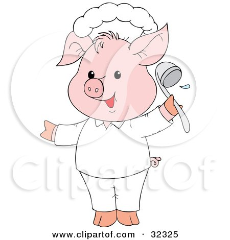 Clipart Illustration of a Cute Pink Pig Chef Holding A Ladle by Alex Bannykh