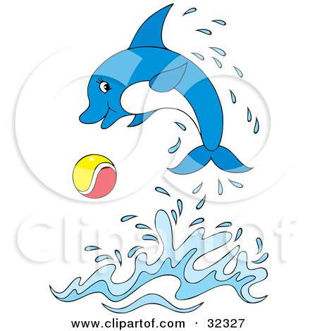 Cartoon Of A Blue Cute Dolphin Jumping And Waving ...