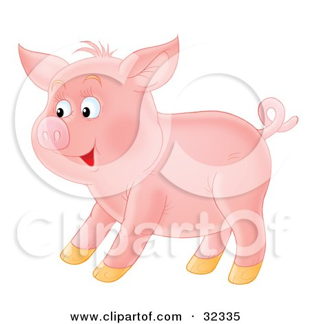 Clipart Illustration of a Happy Pink Pig With A Curly Tail, Standing In Profile by Alex Bannykh