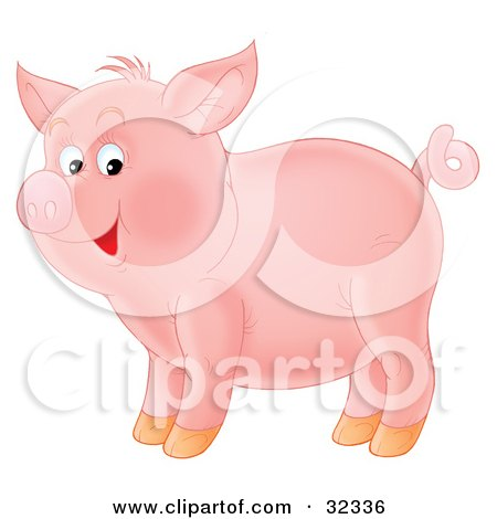 Clipart Illustration of an Adorable Pink Pig With A Curly Tail, Standing In Profile by Alex Bannykh