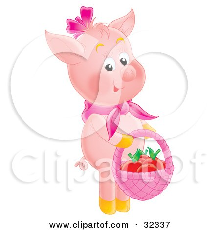 Clipart Illustration of an Adorable Pink Pig Standing On Its Hind Legs, Carrying A Basket Of Apples by Alex Bannykh