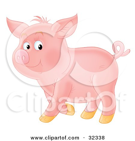 Clipart Illustration of a Proud, Curly Tailed Pink Pig, Standing In Profile by Alex Bannykh
