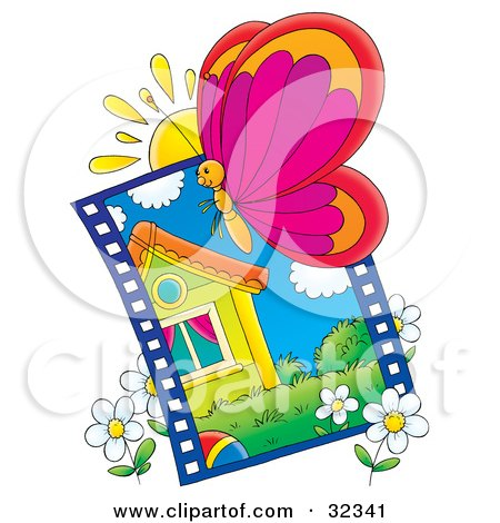 Clipart Illustration of a Butterfly In Front Of A Sun Over A Picture Of A House And White Daisy Flowers by Alex Bannykh
