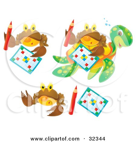 Clipart Illustration of a Set Of Three Brown Crabs With Word Puzzles And Pencils, One Shown On A Sea Turtle's Back by Alex Bannykh