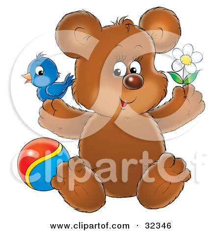 Clipart Illustration of a Cute Brown Bear With A Blue Bird On One Paw, Holding A Flower And Sitting By A Ball by Alex Bannykh