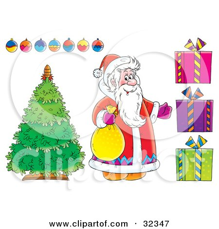 Clipart Illustration of Santa Claus Standing By A Christmas Tree With Ornaments And Presents, On A White Background by Alex Bannykh