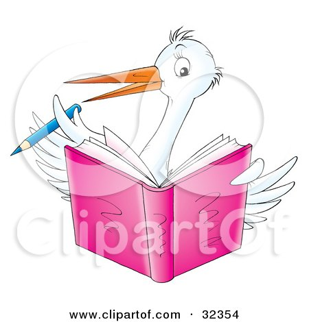 Clipart Illustration of a White Stork Bird Holding A Blue Pencil And Writing In A Pink Book by Alex Bannykh