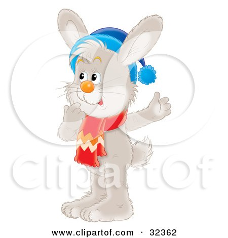 Clipart Illustration of a Curious Gray Rabbit In Thought, Wearing A Blue Hat And Red Scarf by Alex Bannykh