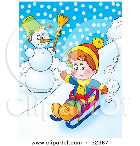 Clipart Illustration of a Boy Riding Downhill Past A Snowman On A Sled On A Snowy Winter Day by Alex Bannykh