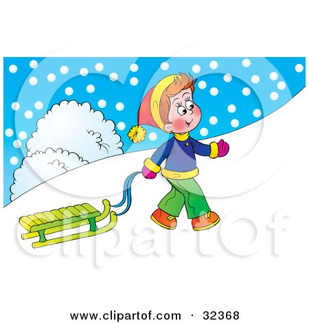 Clipart Illustration of a Happy Little Boy Pulling His Sled Up A Hill On A Snowy Winter Day by Alex Bannykh