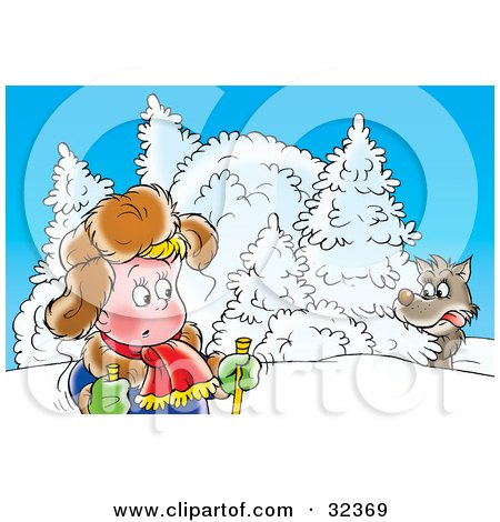 Clipart Illustration of a Nervous Boy Skiing, Looking Back At His Shoulder At A Scary Wolf by Alex Bannykh