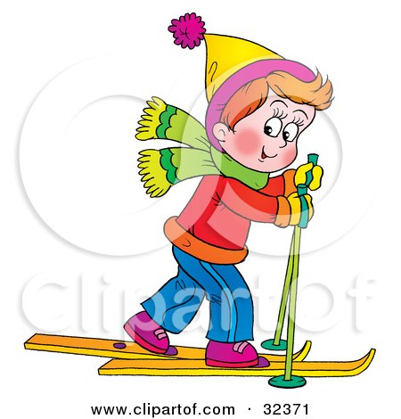 Clipart Illustration of a Little Boy In Winter Clothes, Skiing Past by Alex Bannykh
