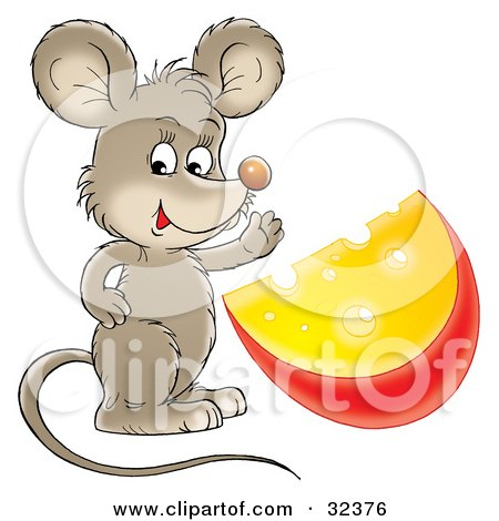 Clipart Illustration of a Cute Brown Mouse Waving And Standing With A Wedge Of Cheese by Alex Bannykh
