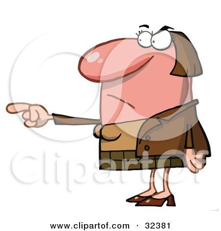 Clipart Illustration of a Flustered, Red Faced Caucasian Woman Pointing The Blame At Someone by Hit Toon