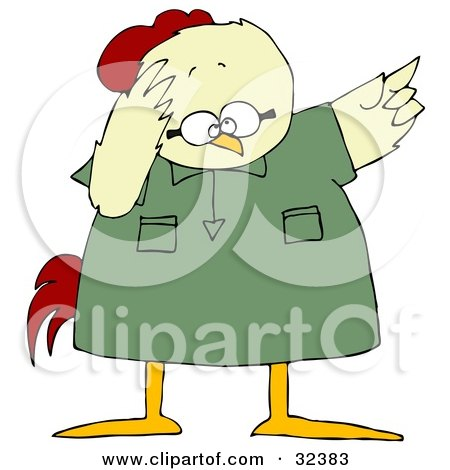 Clipart Illustration of a Fretting Chicken In A Green Shirt, Pointing Up To The Right by djart