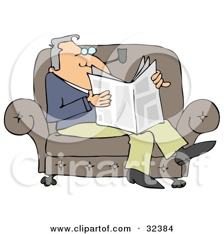 Relaxed Man Sitting On A Couch, Smoking A Pipe And Reading A Newspaper Posters, Art Prints