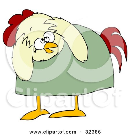 Clipart Illustration of a Scared Chicken In A Green Shirt, Bending Over And Covering Its Head by djart