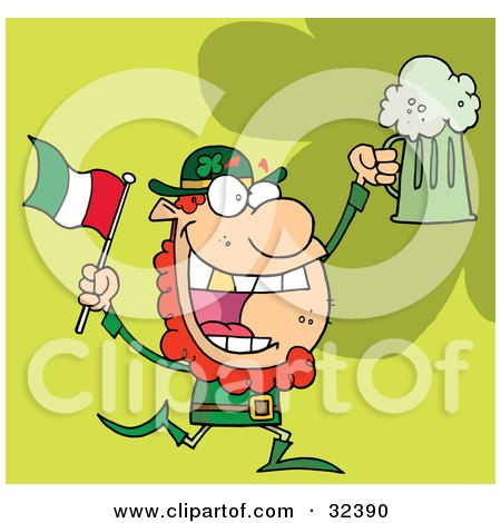 Clipart Illustration of a Happy Red Haired Leprechaun With A God Tooth, Dancing With A Flag And Mug Of Beer, On A Green Background by Hit Toon