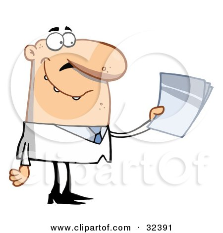 Clipart Illustration of a Male Caucasian Doctor Or Scientist Holding Papers And Smiling, On A White Background by Hit Toon