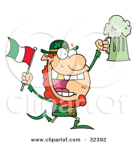 Clipart Illustration of a Happy Leprechaun With A Golden Tooth, Running With Green Beer And An Irish Flag by Hit Toon
