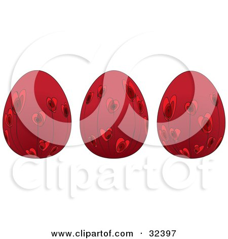 Clipart Illustration of Three Red Easter Eggs With Red Floral Heart Designs by suzib_100