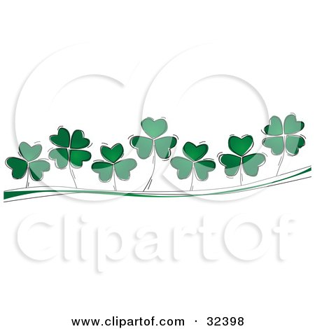 Clipart Illustration of Three And Four Leaf Clovers Growing On A Green And White Wave  by suzib_100