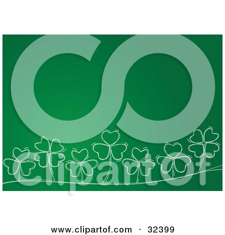 Clipart Illustration of a Row Of Four And Three Leaf Clovers With White Outlines, On A Green Background by suzib_100