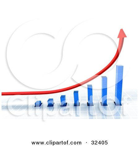 Clipart Illustration of a Blue Bar Graph On A Grid Surface, With A Red Arrow Shooting Upwards by Tonis Pan