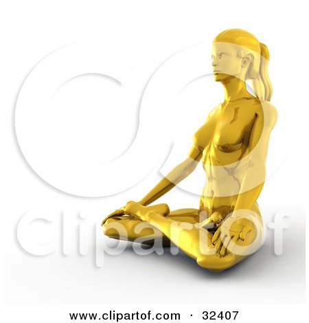 Clipart Illustration of a Fit Golden Woman In The Lotus Position, Meditating And Facing To The Left by Tonis Pan